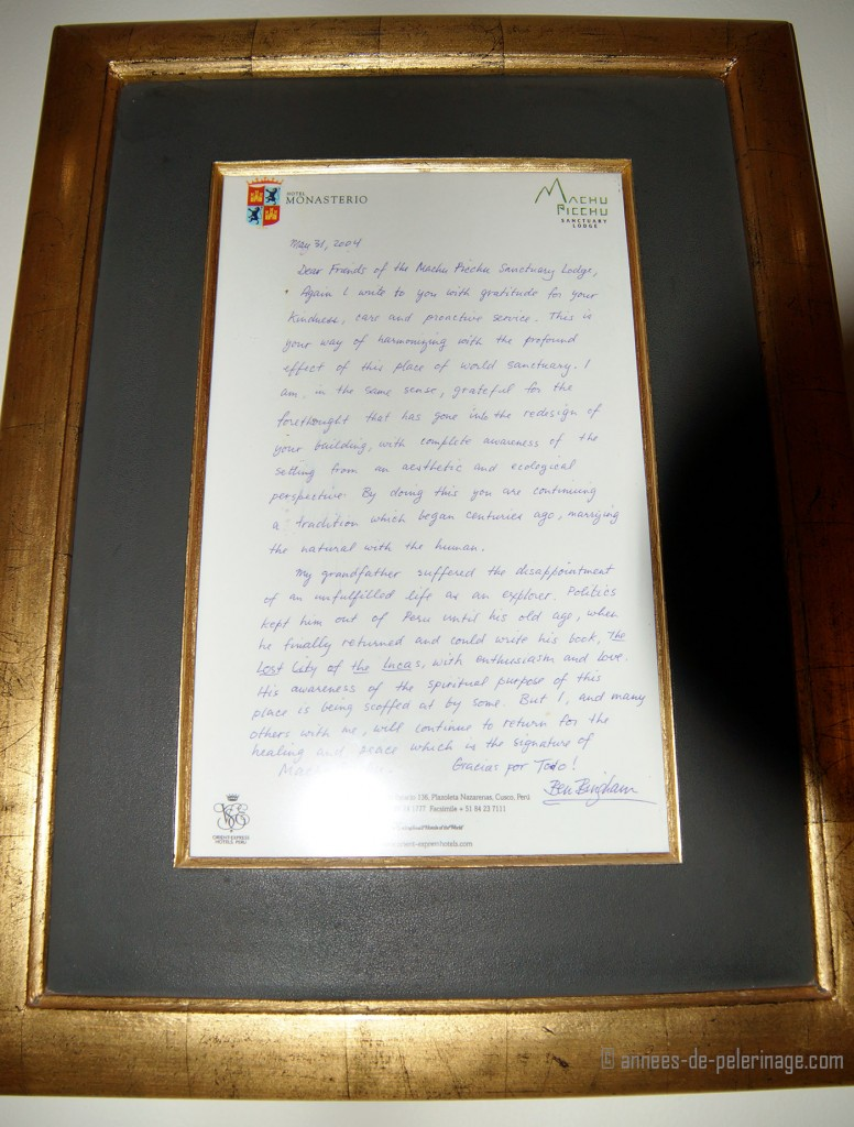 The recommendation letter of ben bingham in the lobby of belmond sanctuary lodge lobby