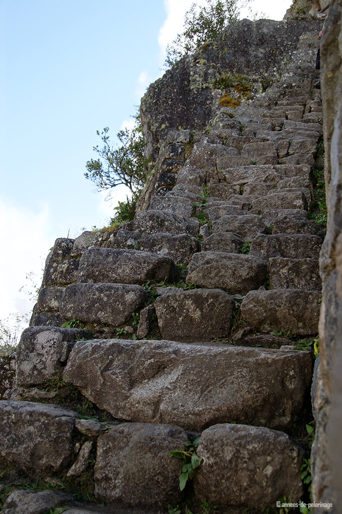 the stairs of death at wayna picchu and an almost vertical drop