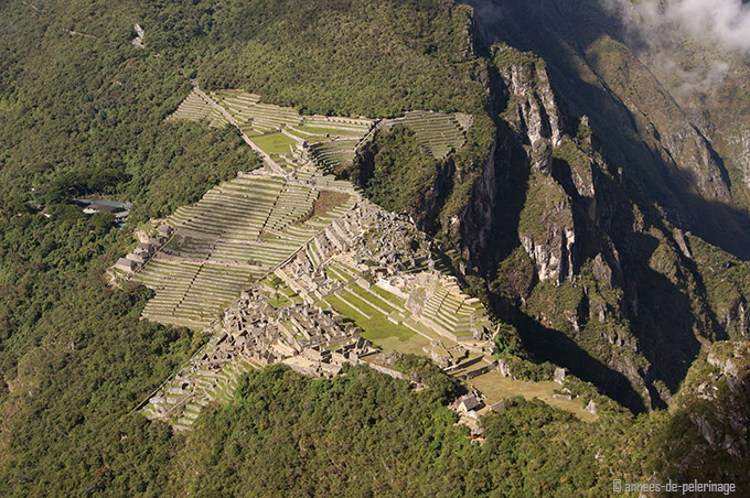 The view on machu picch from the summit/top of wayna picchu