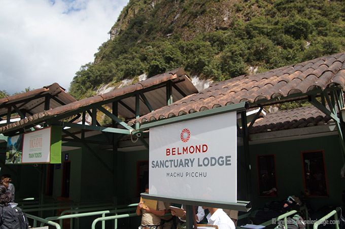 Welcome sign of the Belmond Sanctuary Lodge at the Aguas Calientes train station