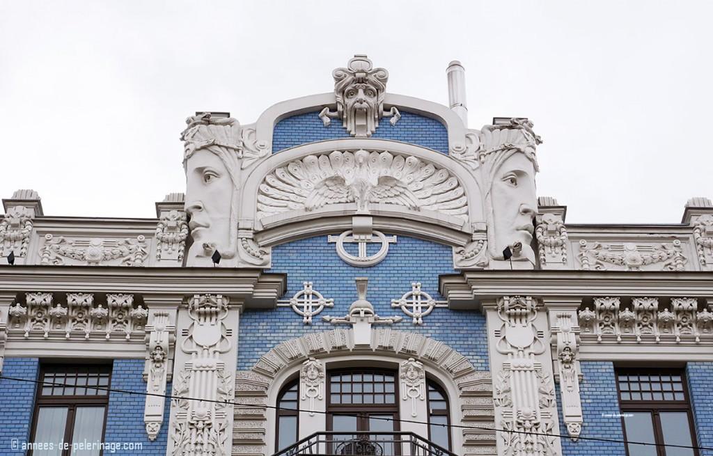An art nouveau fasade in riga antonijas street