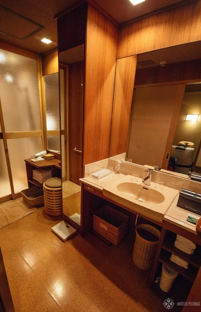 The bathroom of the tawaraya Roykan in Kyoto, Japan