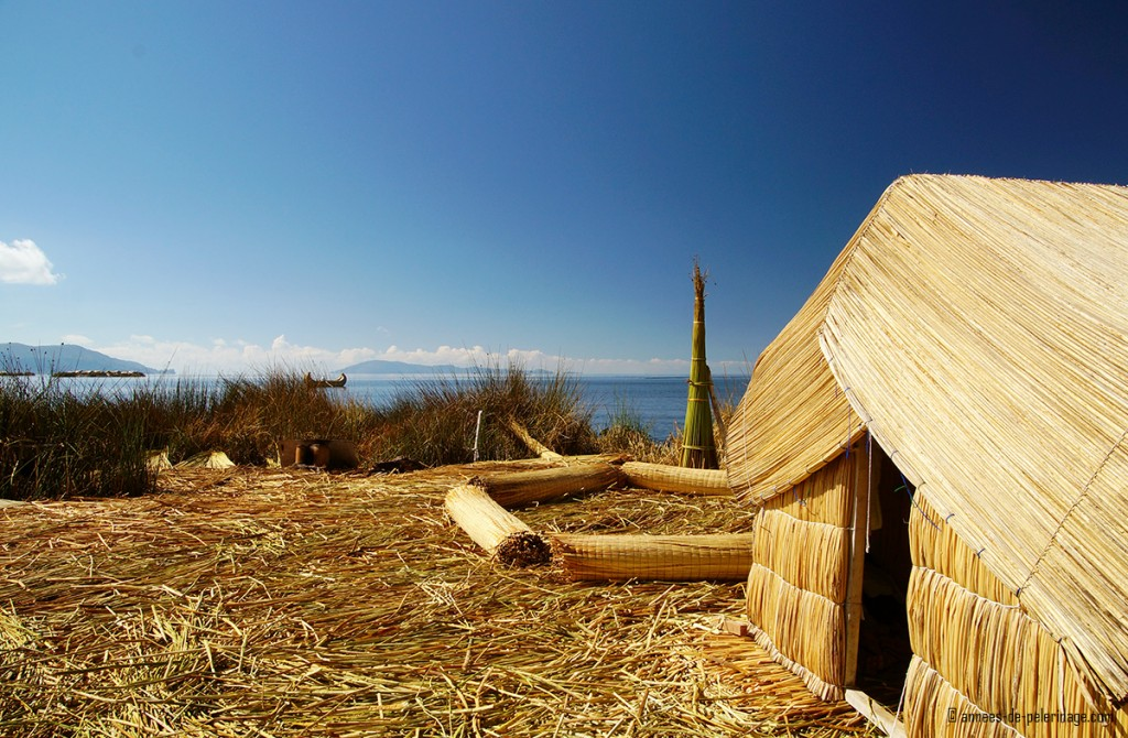 The sittig area on the floating reed islands of the Uros - mostly used for tourist purposes