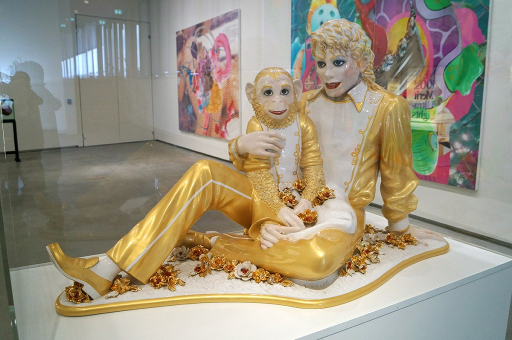 jeff koons gilded china statue of michael jackson holding his favorite chimp at astrup fearnley oslo