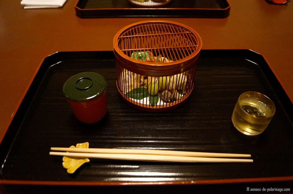 kaiseki dinner at tawaraya ryokan with autum vegetables