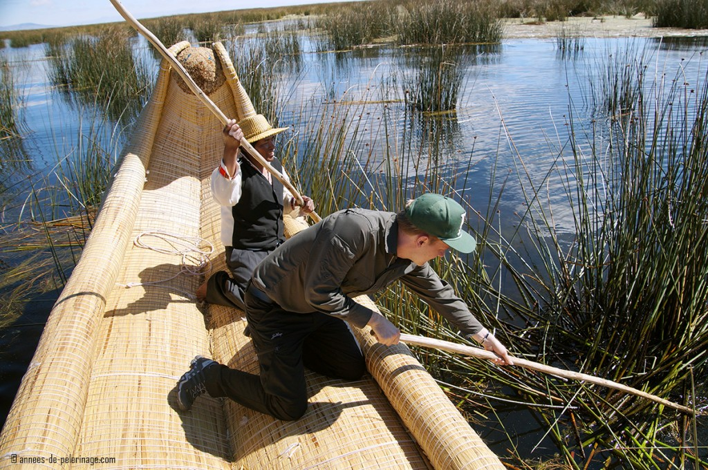 Me trying to cut totora reed in the marshlands around the floating islands of the uros people on lake titicaca