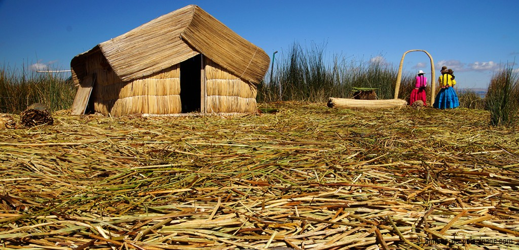The reed flor of the floating islands of the Uros people on Lake Titicaca