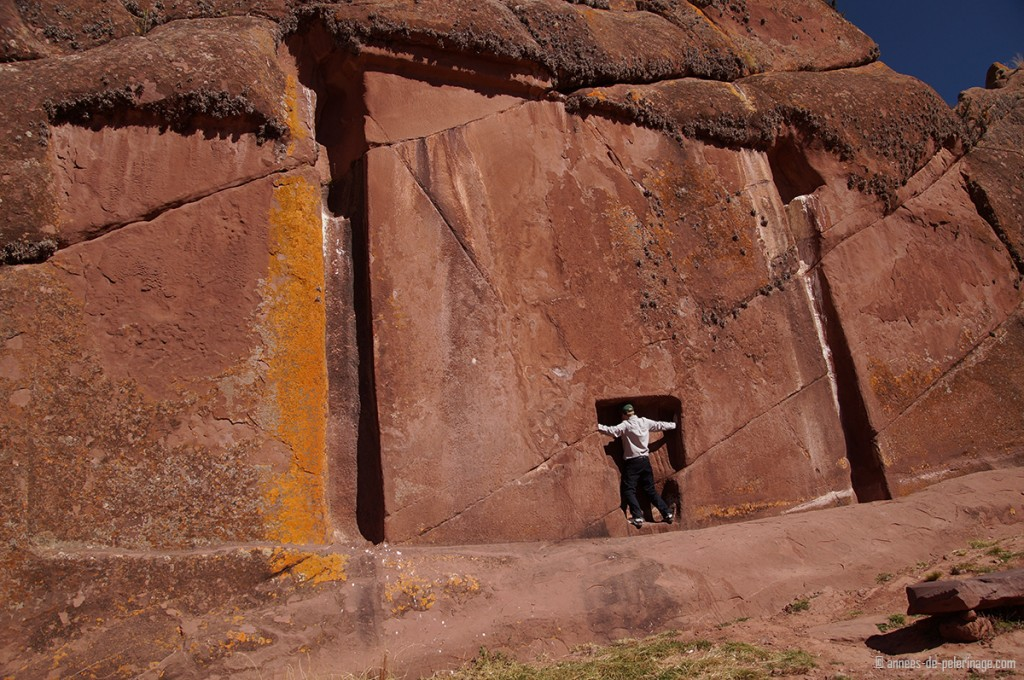 standing inside the spiritual doorway of Amaru muru near lake titicaca