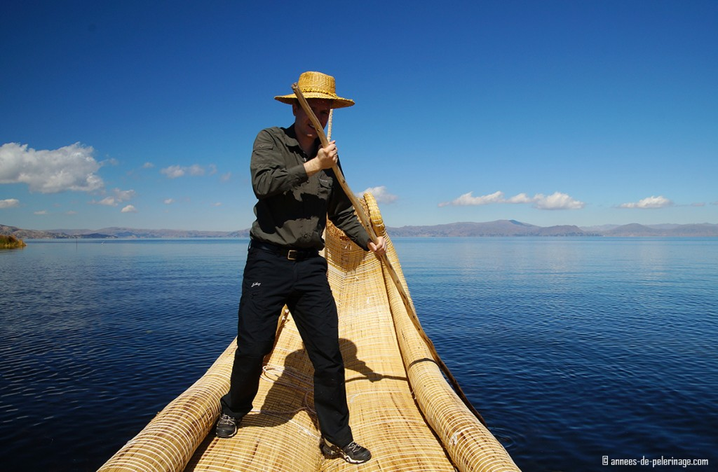 Me trying to seet one of the reed boats of the uros people on lake titicaca peru