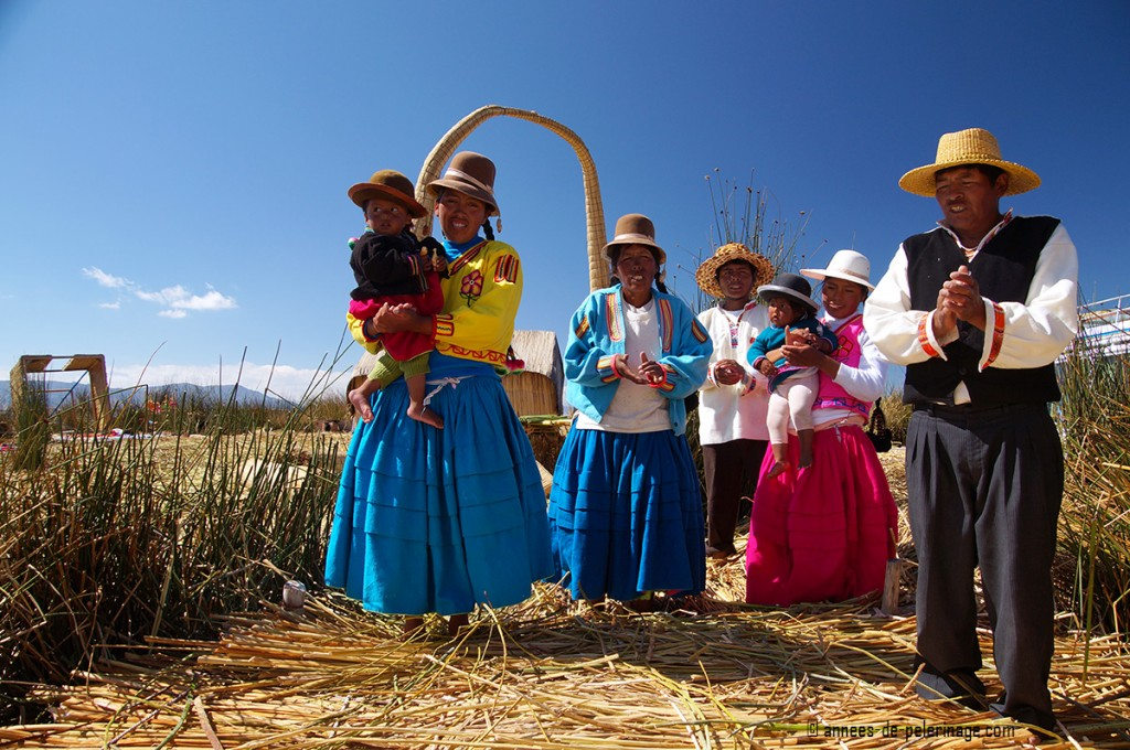 The Uros people on their floating island on lake titicaca in peru performing a song to bid me farewell