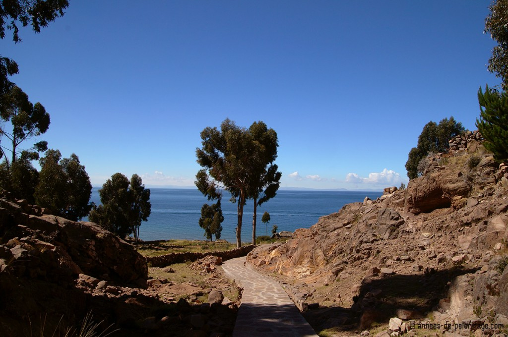 The mediterranean landscape on taquile islands, lake titicaca