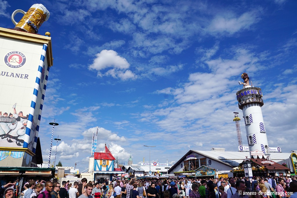 Beer tens at Oktoberfest with their huge towers for attracting visitors
