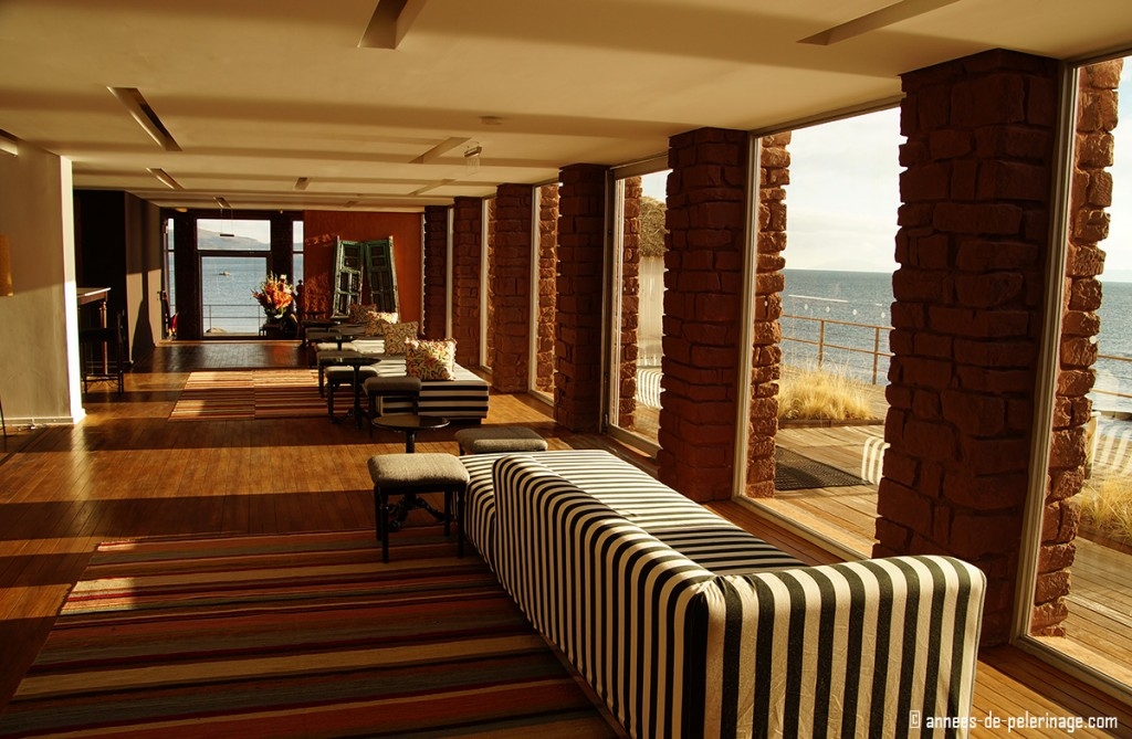 design luxury hotel lake titicaca: The unsual bar area of the Titilaka Lodge
