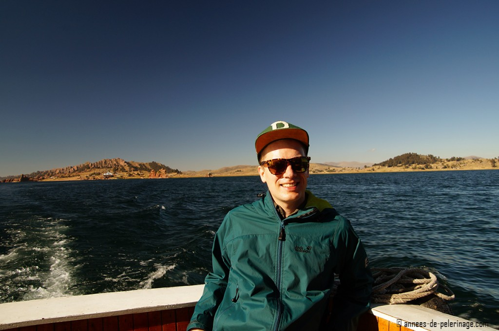 Me sitting on deck of a private boat on my way to Taquile Islands, lake titicaca, peru