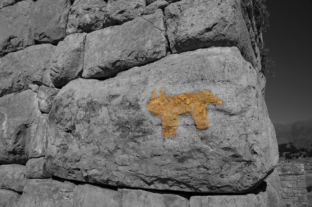 puma graffiti on the chullpas of lake titicaca - the funerary towers of the aymara