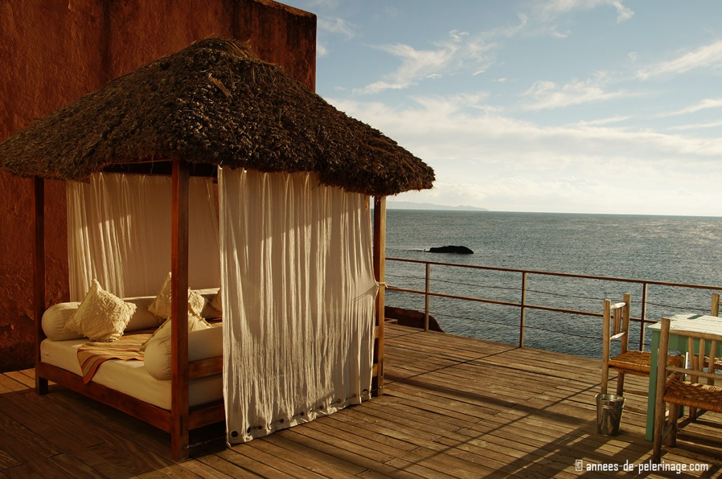 A relaxing day bed on the terrace of the best luxury hotel lake titicaca