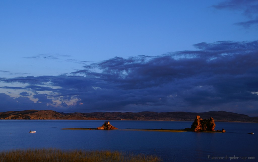 Sunset view from my corner room at Titilaka luxury hotel on Lake Titicaca, Peru