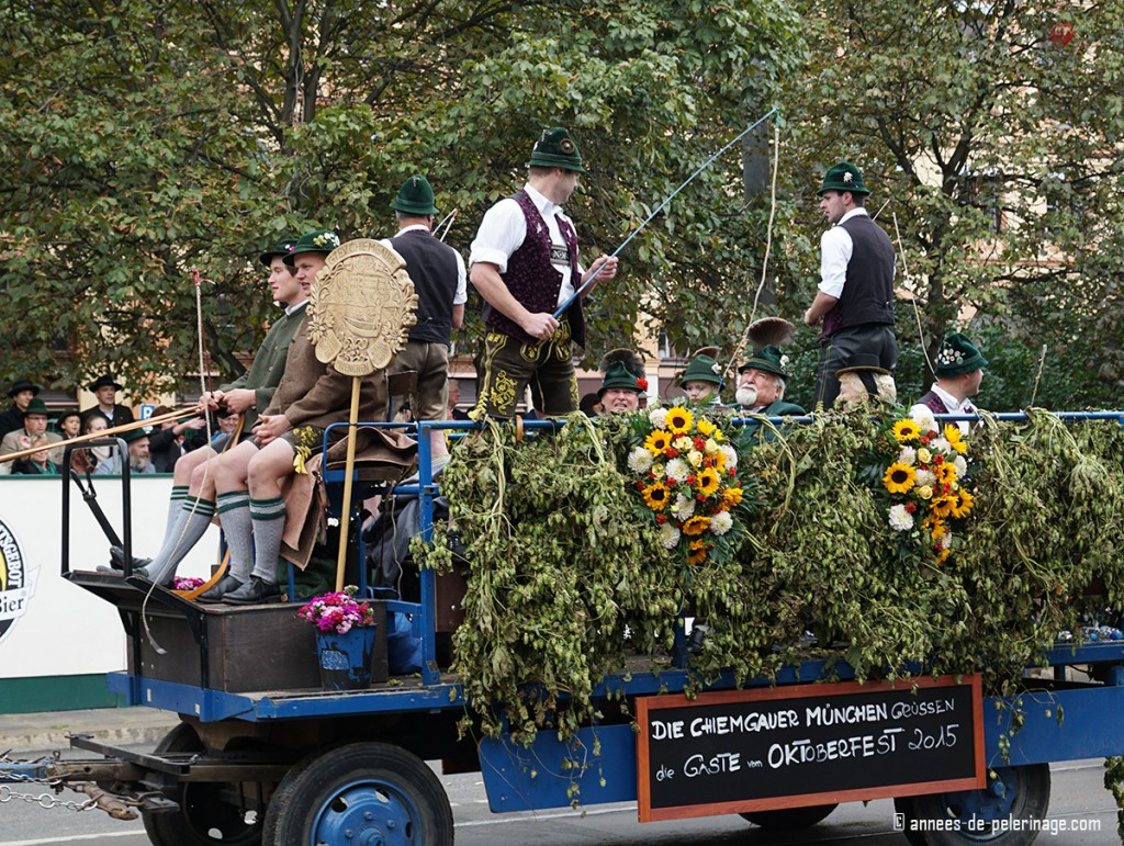 Goaßlschnalzen whipcrackers at the costume parade in Munich for OKtoberfest