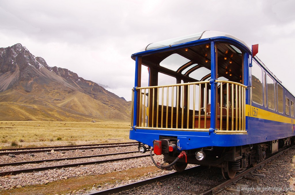 The observation deck of the Andean explorer luxury train seen from outside, standing at la raya pass