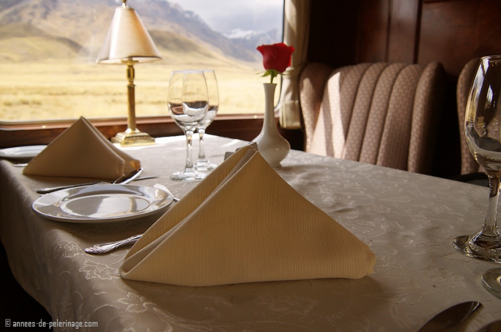 Table wear of the andean explorer luxury train by peru rail