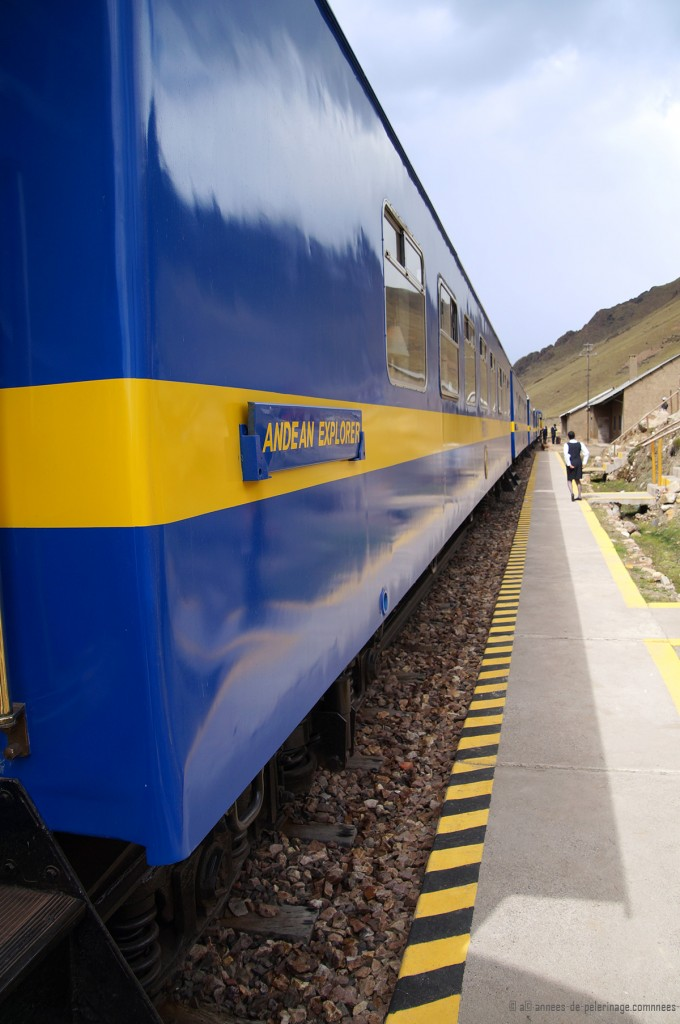 The andean explorer luxury train refiling at the train station at La Raya pass peru