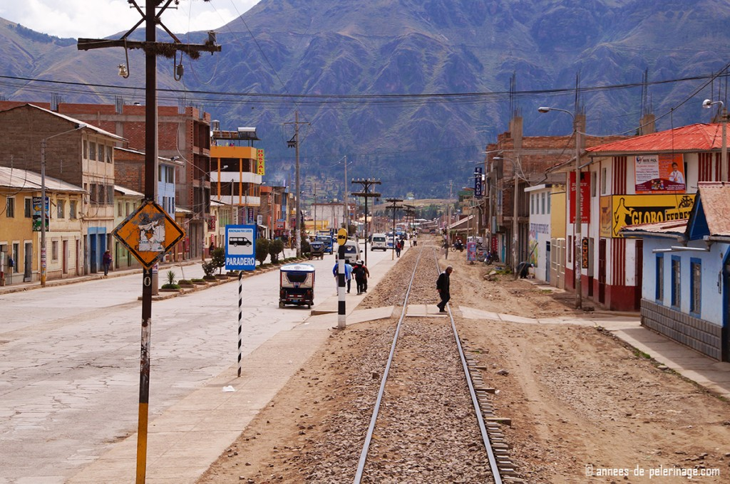 The Andean explorer passing through a small city on the altiplano in peru