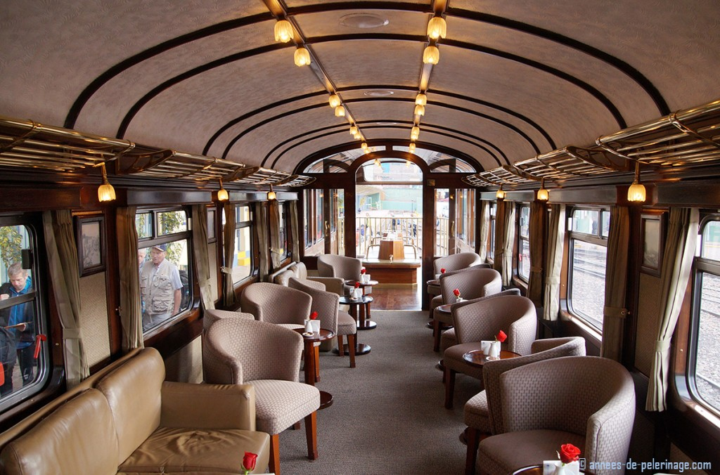 The bar wagon of the andean explorer luxury train and the observation deck behind it