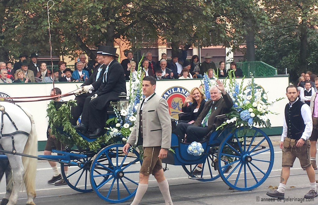 The carriage of the bavarian prime minster horst seehofer at the costume parade in munich