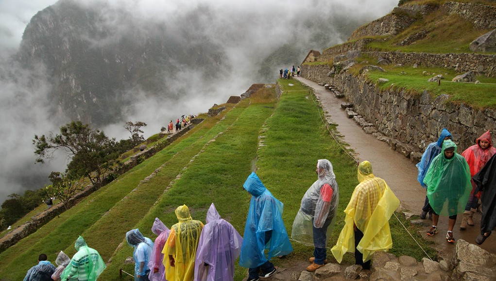 A crowd of tourists wearing rain capes in Machu Picchu