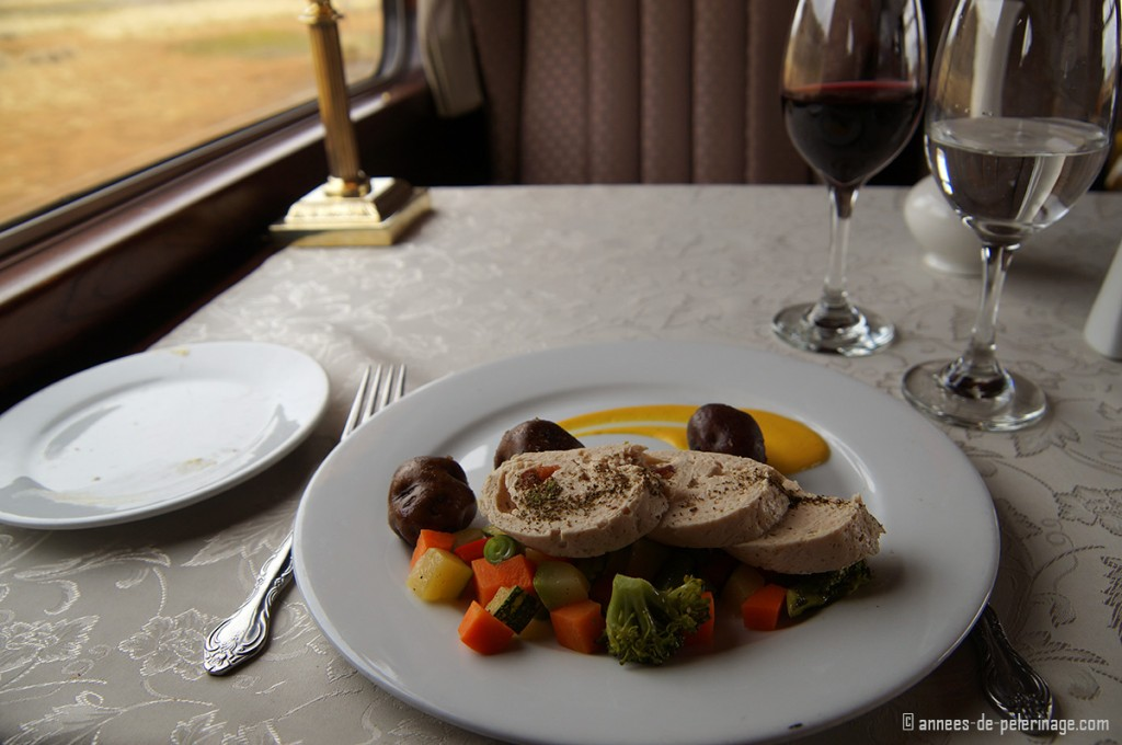 The food on the Andean Explorer being served on real china and metal cuttlery