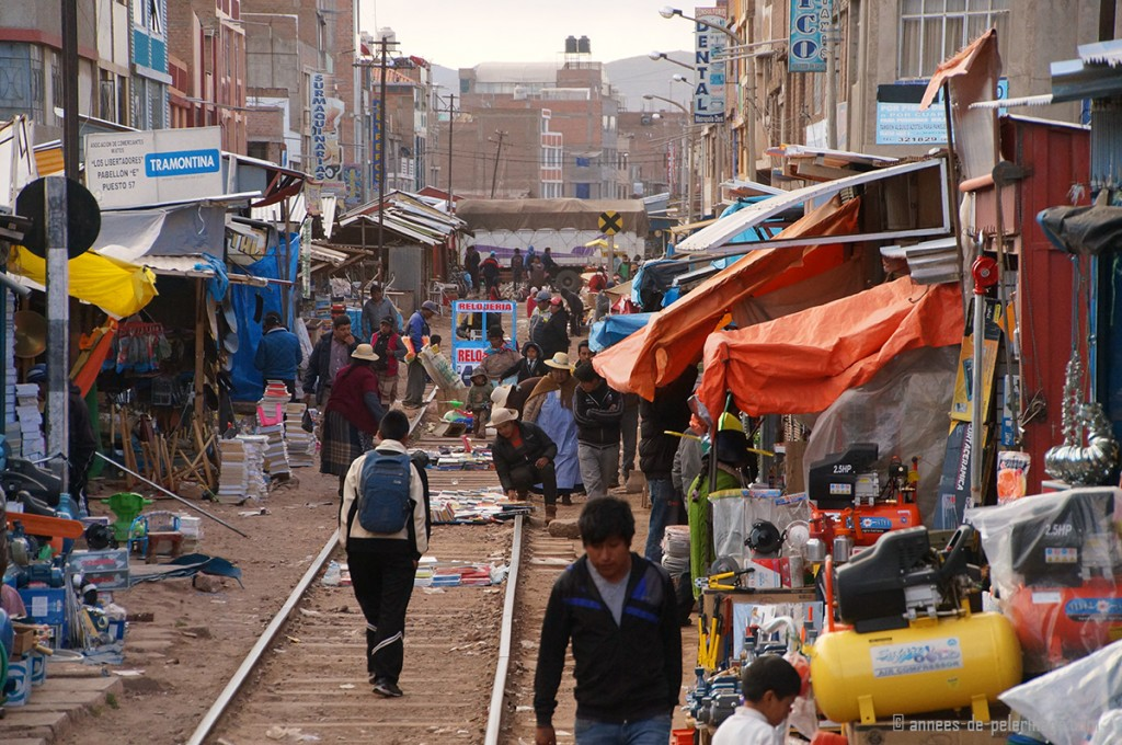 A view of the market in Juliaca right on the train tracks of the Andean Explorer