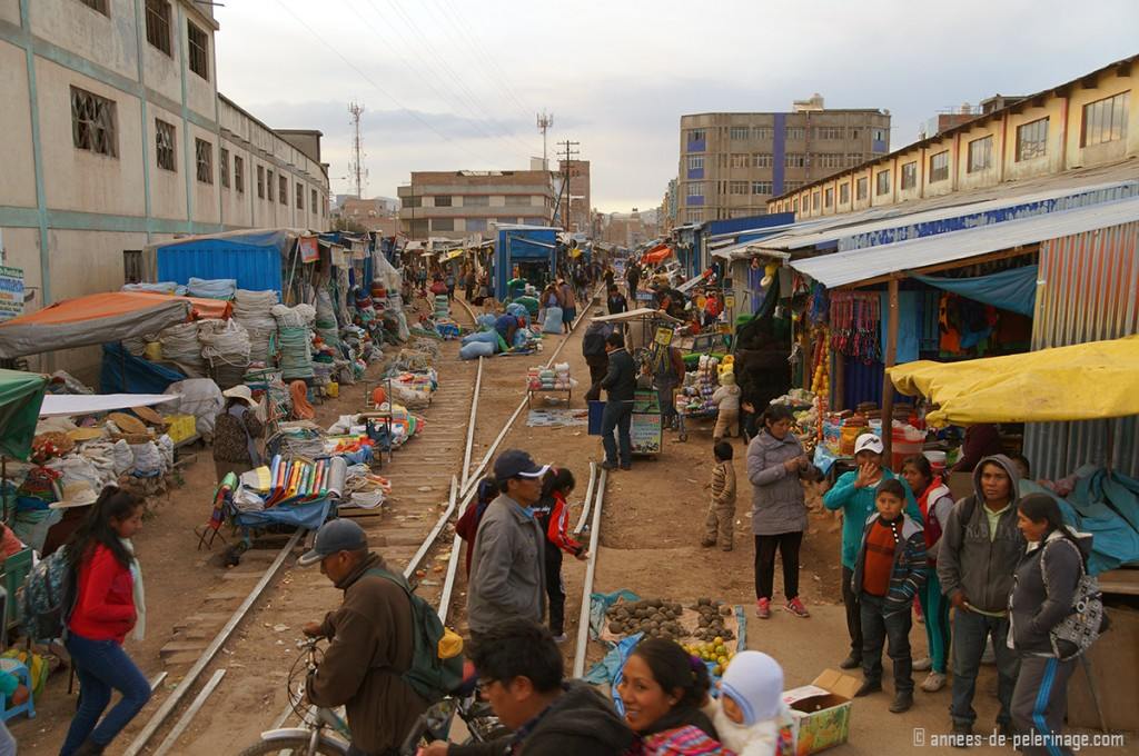 The crazy marked in Juliaca on the train tracks of the Andean Explorer