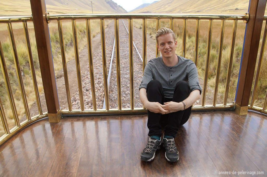 Me sitting on the observation deck of the andean explorer Luxury train