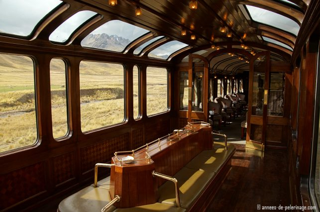 The observation deck of the luxury train from Cusco to Machu Picchu