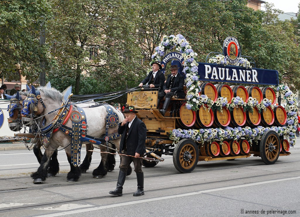 The Paulaner bräu horse carriage decorated with white and blue flowers for the traditional costume parade for oktoberfest