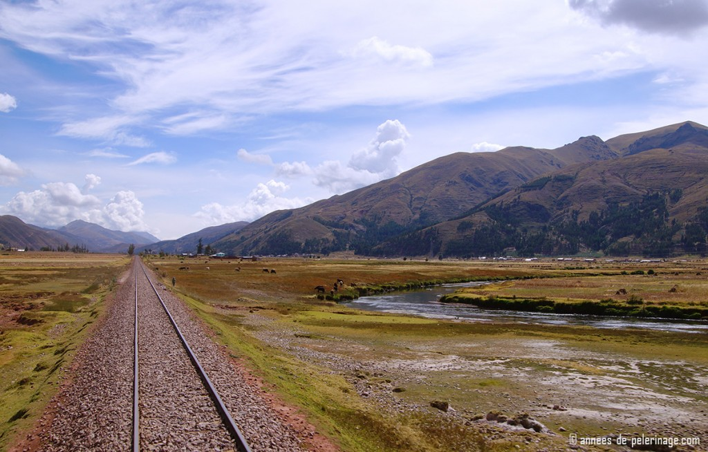 The rear view from the observation deck of the Andean Explorer on the ride from Cusco to Puno
