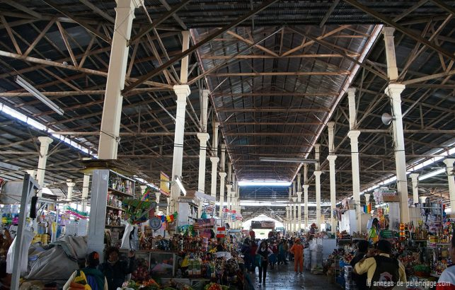 The san pedro market hall with its many colorful vendors in Cusco, Peru