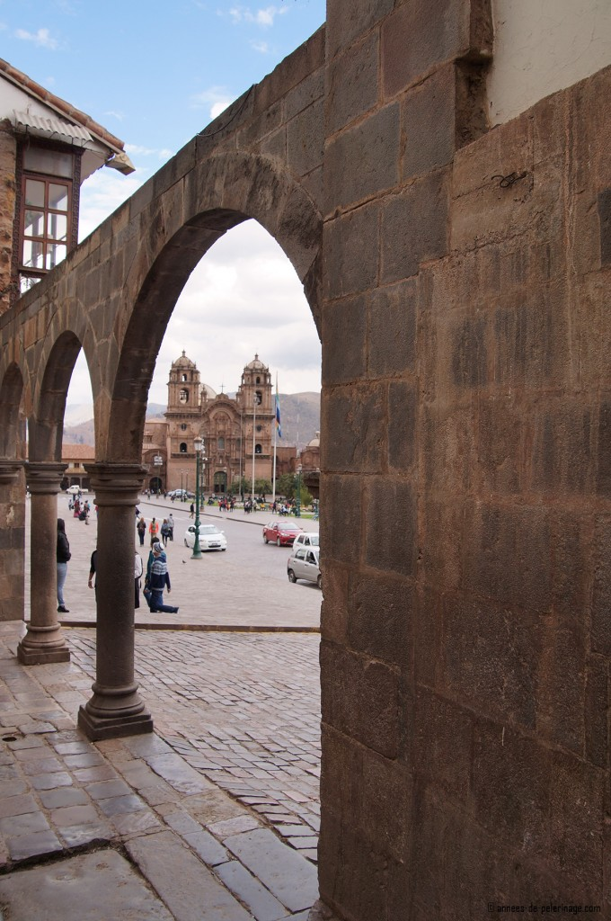 The spanish arcades surrounding the Plaza de Armas in Cusco, Peru