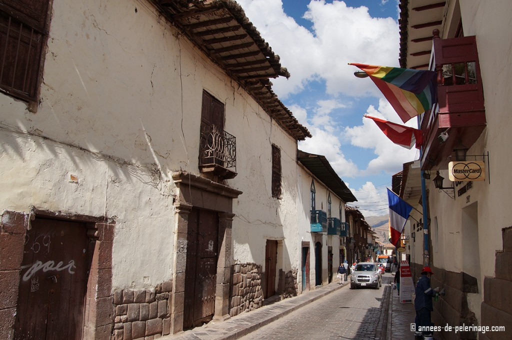 The streets of cusco with many colorful balconies