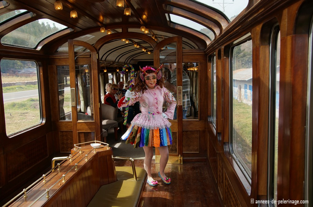 Traditional costumes and dances onboard the Andean Explorer by Peru Rail