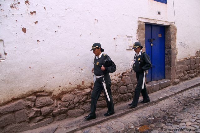Two police women in Barrio de San Blas, Cusco, Peru