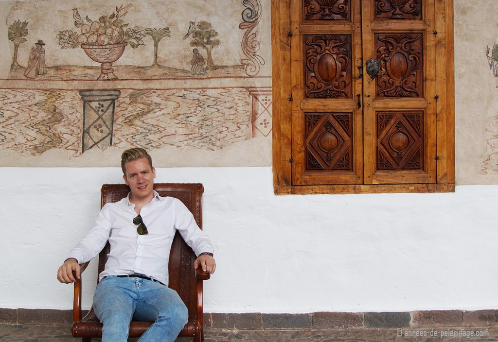 Me an ancient fresco at the Belmond Palacio Nazarenas boutique hotel in Cusco