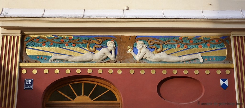 Beautiful Art Nouveau Adam and Eve door detail at Ainmillerstrasse in Munich