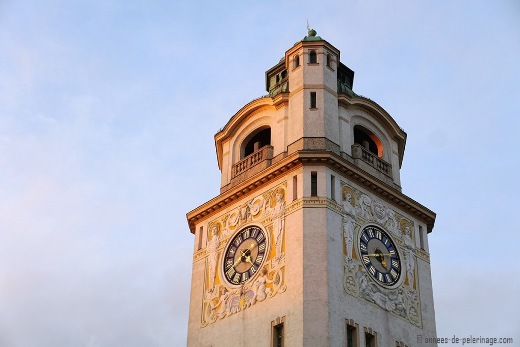 The Art Nouveau clock tower of a public bath in Munich