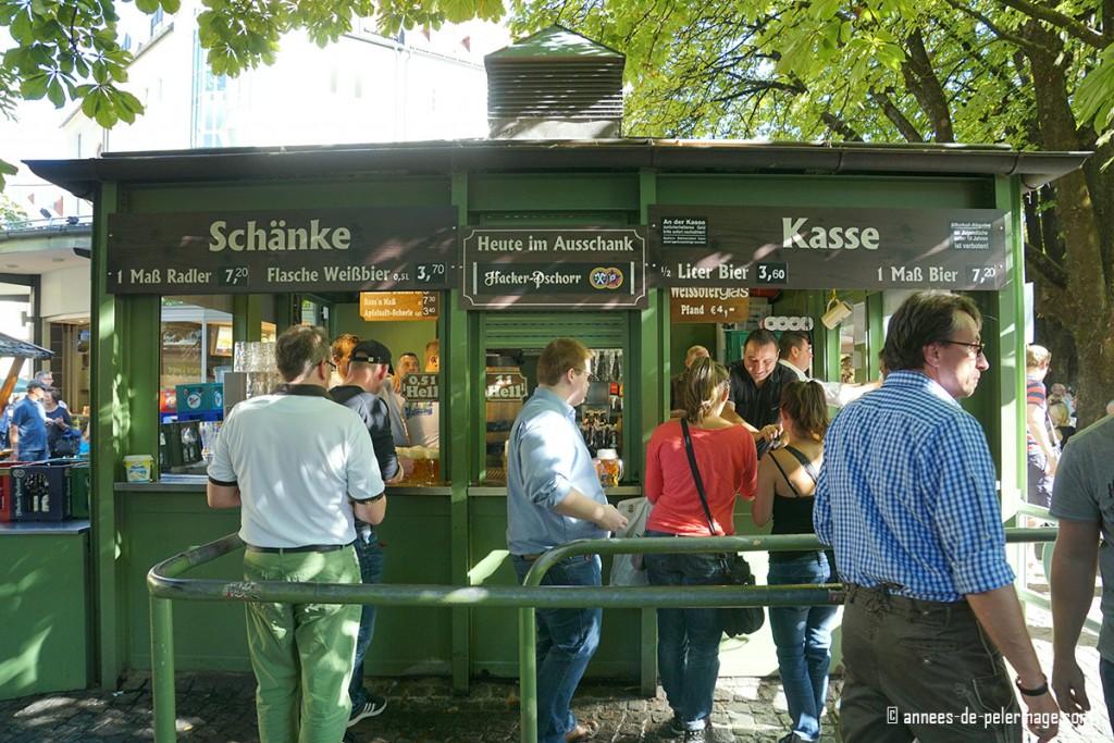 The beer counter at the beer garden on Viktualienmarkt in Munich