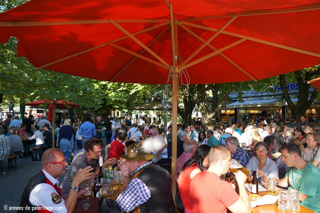 The beergarden on Viktualienmarkt with plenty of locals enjoying there steins full of lager beer