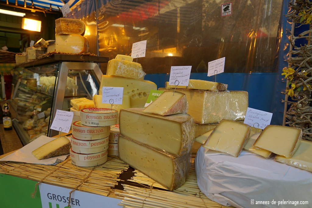 The cheese counter of a cheese vendor on Viktualienmarkt in Munich