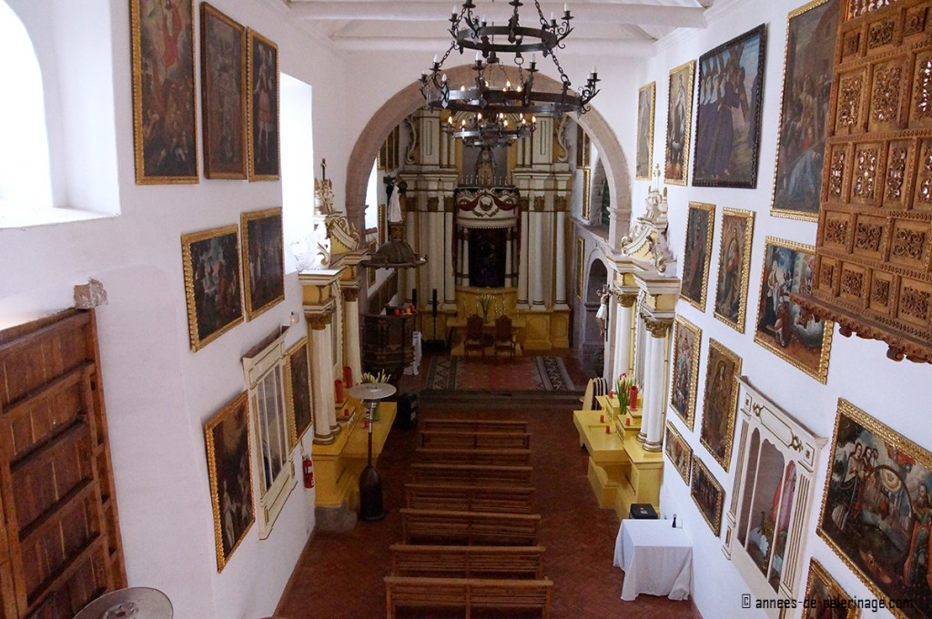 The ancient colonial church inside the Belmond Palacio Nazarenas in Cusco