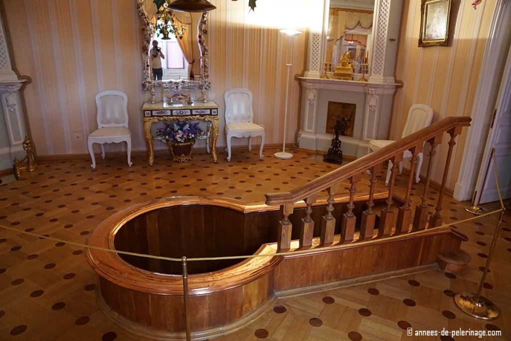 A copper hot tub in the Bathhouse Wing of the Monplaisir Palace in Peterhof, St. Petersburg