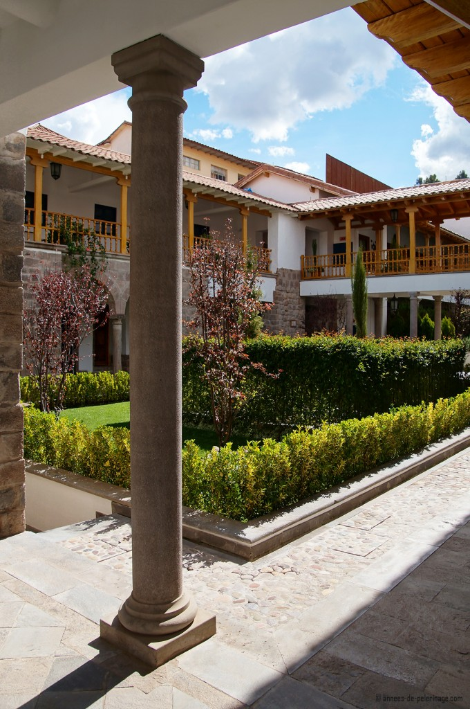 A courtyard inside the Belmond Palacio Nazarenas boutique luxury hotel in Cusco